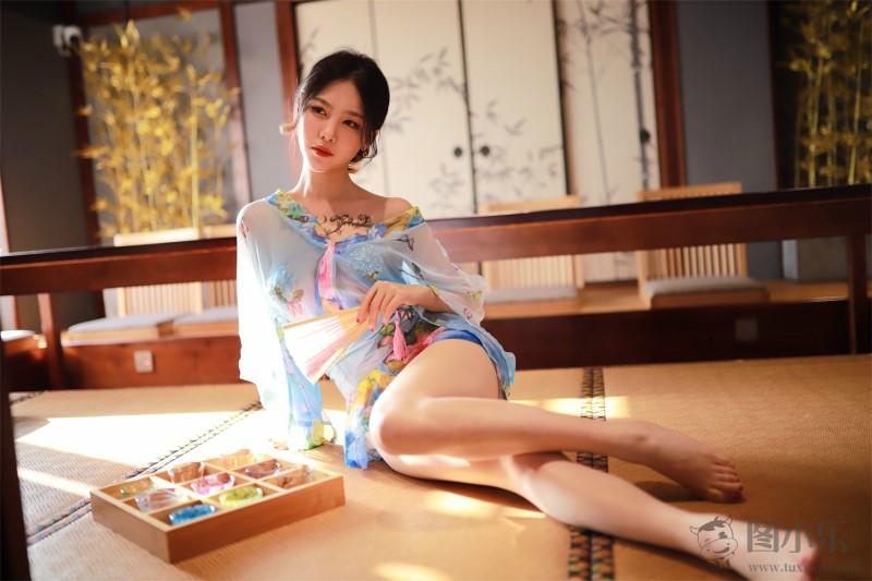 抖娘_利世-水蓝和服 [30P-47M]